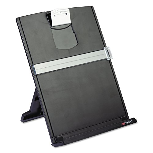 3M Desktop Document Holder with Adjustable Clip, Holds Letter, Legal and A4 Documents, Bottom Ledge Has Lip to Keep up to 150 Sheets Securely in Place, Folds Flat for Storage, Black (DH340MB) (Adjustable Document Holder)