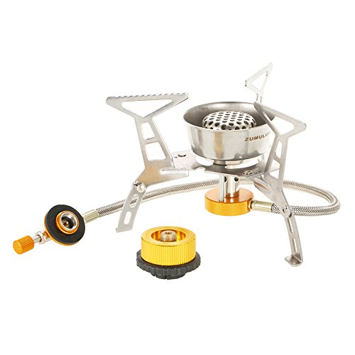 ZUMULUM Outdoor Camping Stove Kit Ultralight Compact Foldable backpacking Gas Stove + Camping Stove Tank Connector Adapter