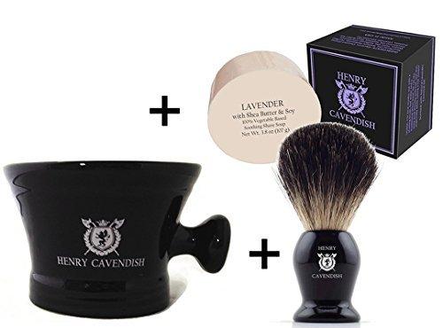 Henry Cavendish Lavender Shaving Soap, Long Lasting 3.8 oz Puck Refill, plus Ceramic Shaving Soap Bowl, plus Gentleman's 100% Pure Badger Hair Shaving Brush.