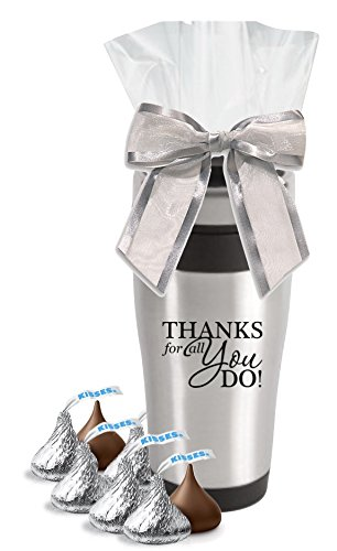 Hershey Kisses in Thank You Stainless Tumbler /Christmas Holiday Chocolate Hersheys Kisses Candy Gift Mug/Teacher Appreciation Gift/Corporate Thank You Travel Mugs/Nurse's Day Gifts