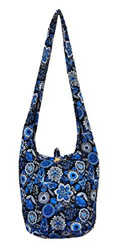 Thai Hippie Hobo Sling Crossbody Shoulder Bag Purse Handmade Zip Colorful Butterfly Flower Cotton Gypsy Boho Messenger Medium (M888 (Blue))