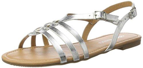 Buffalo Shoes 315889 Hm20108-6 1# Met Pu, Sandalias con Cuña para Mujer Plateado (Silver)