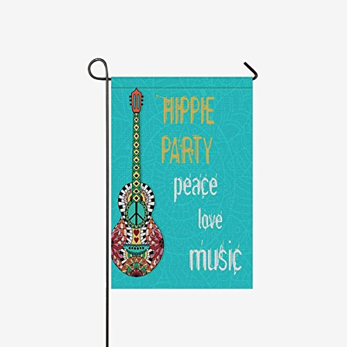 Hippie Party Hippy background with Acoustic Guitar and Peace Sign Decorative Flag Garden Flag House Banner for Party Wedding Yard Home Decor 28