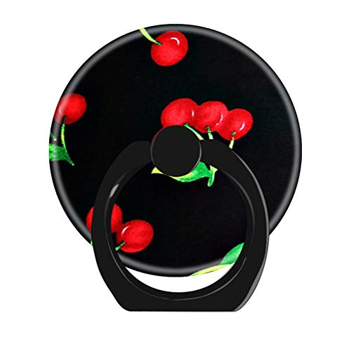 360 Degree Rotation Cell Phone Ring Holder Stand,Finger Ring Grip with Car Mount Hooks for Smartphones and Tablets-Cute Retro red Cherries Fruit Pattern on Black
