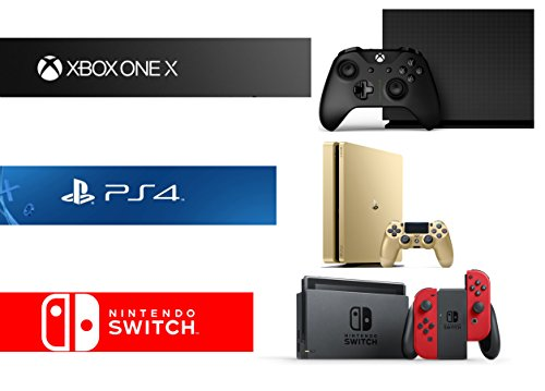 Xbox One X 1TB Limited Edition Console – Project Scorpio Edition + PlayStation 4 Slim 1TB Gold Console + Nintendo Switch – Super Mario Odyssey Edition Bundle ( 3 – Items )