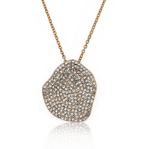 Riccova City Lights Rose Gold-Plated Crystal Filled Center Pendant Chain Necklace/ 16