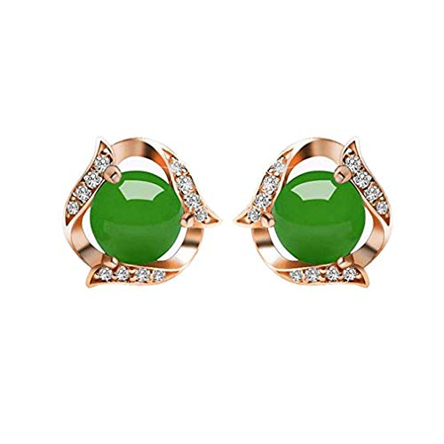 (Windoson Retro Temperament Simple Earrings Decorated with Diamond Green Chalcedony, for The Lover, Wife, Girlfriend (Green))