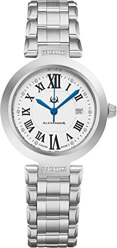 Alexander Monarch Niki Date DIAMOND Silver Large Face Watch For Women – Swiss Quartz Stainless Steel Silver Band Elegant Ladies Fashion Designer Dress Watch AD203B-01