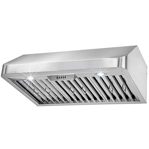 FIREBIRD 30″ Under Cabinet Stainless Steel Kitchen Range Hood Vent (Push Control)