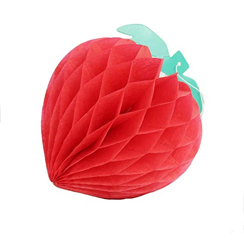 HEARTFEEL Pack of 5 Honeycomb Strawberry Tissue Honeycomb Hanging Fruit Decorations Garden Room Baby Shower Party Favors (Strawberry)