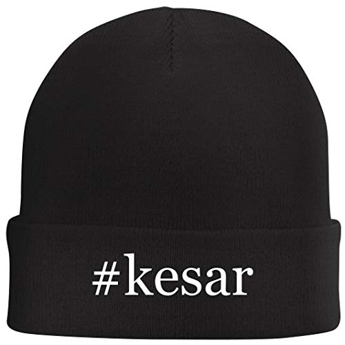 Tracy Gifts #Kesar - Hashtag Beanie Skull Cap with Fleece Liner, Black, One Size
