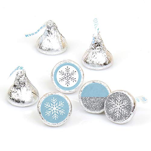 Winter Wonderland - Snowflake Holiday Party & Winter Wedding Round Candy Sticker Favors - Labels Fit Hershey's Kisses (1 Sheet of 108) for $<!--$8.89-->