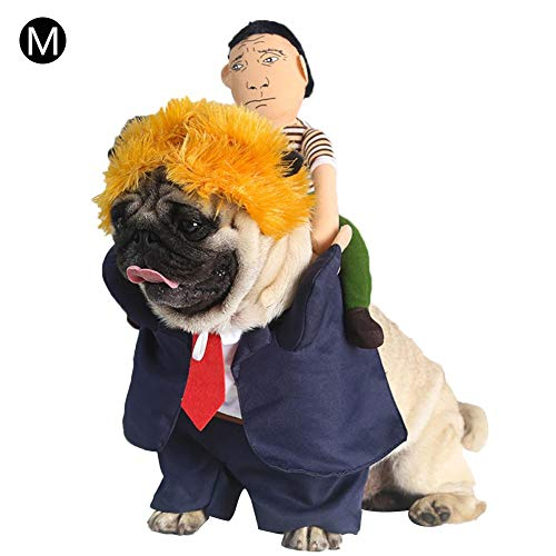 sweetyhomes Pet Costume - Dog Halloween Clothes Funny Dress President Back Man Yellow Hair Camel Standing Change Dress Christmas Party Dress Dog Costume -