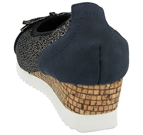 Gericht Navy On Niedriger Slip Größe Effekt Kork 3 Damen Schuhe 9 Kunstleder Keilabsatz UK w0BWnxx