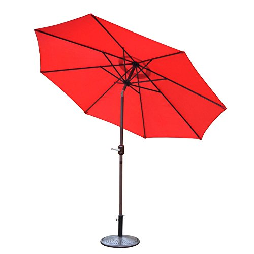 CC Outdoor Living 9' Red and Brown Patio Umbrella with Crank and Tilt and Cast Iron Base