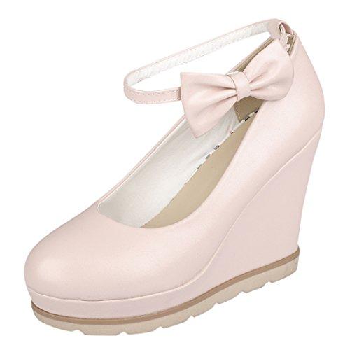YE Damen Süß High Heels Plateau Runde Geschlossen Pumps mit Keilabsatz und Riemchen Schleife Schnalle 10cm Absatz Schuhe Rosa