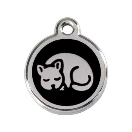 Katzenmarke Edelstahl emailliert 'Kitten' schwarz inkl. Gravur