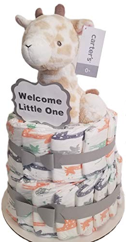 (Giraffe 2-Tier Diaper Cake - Honest Diapers -Baby Shower Gift - Newborn Boy or Girl- Eco Friendly)