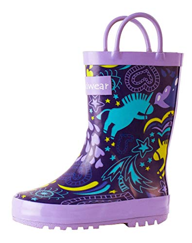 OAKI Kids Rubber Rain Boots Easy-On Handles, Purple Unicorns, 5T US Toddler