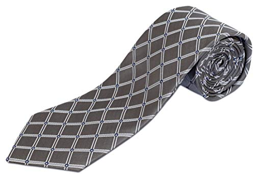 Extra Long Gray Diamond Silk Tie