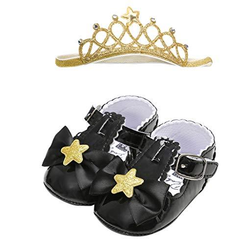 (Shusuen 2 pcs Girls' Loafers Ballerina Flat Shoes Toddler Mary Jane Dress Shoes + Princess Crown Hairband Black)