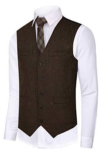 CMDC Men's Vest Slim fit Tweed Waistcoat V-Neck Herringbone Wool Solid Suit Vest-SI166-Brown-L ()
