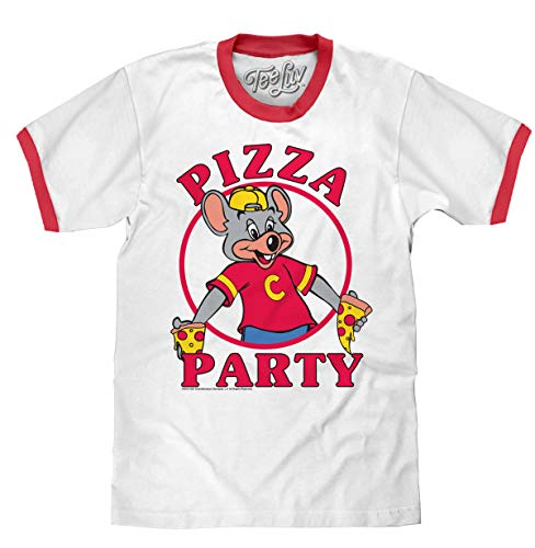 Tee Luv Chuck E Cheese's T-Shirt - Pizza Party Graphic Ringer Tee Shirt (Medium) White
