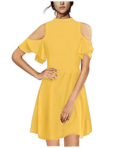 STYLEWORD Women's Summer Off Shoulder Casual Cute Dress(Yellow,M)