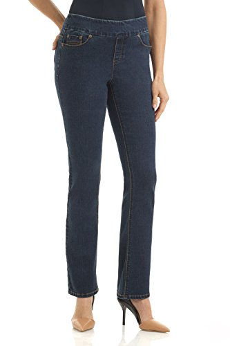 Rekucci Jeans Women's Ease In To Comfort Fit Stretch Straight Leg Denim Pants (12,Dk. Wash)