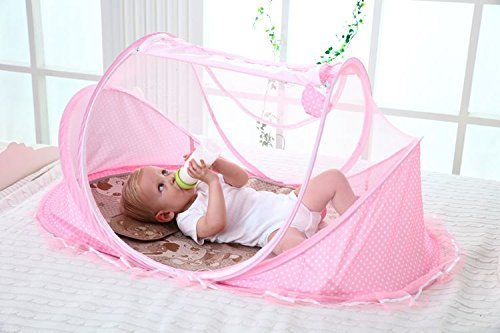 SUPOW Baby Mosquito Net Bed, Portable Infant Tent Folding Infant Travel Crib Mosquito Bed Summer (Pink/) by SUPOW (Image #5)