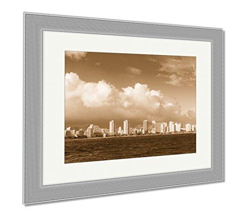 Ashley Framed Prints Honolulu City Skyline From Water, Wall Art Home Decoration, Sepia, 34x40 (frame size), Silver Frame, - Honolulu Marketplace