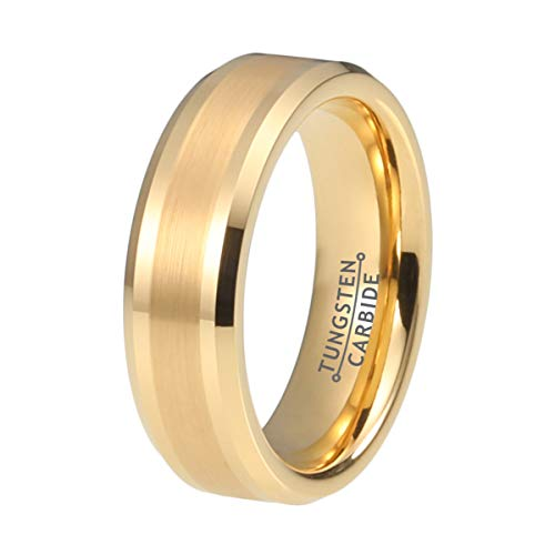 Wow Jewelers 6mm Gold Tungsten Rings for Men Women Wedding Bands Matte Polished Finish Beveled Edges Comfort Fit