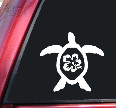 Hibiscus Honu Hawaiian Sea Turtle Vinyl Decal Sticker - White