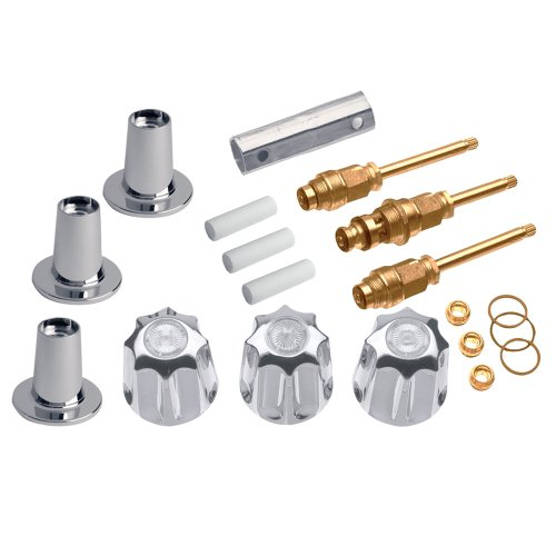 DANCO Bathtub and Shower 3-Handle Remodel/Rebuild Trim Kit for Gerber Faucets | Knob Handle | 11B-1H/C and 11B-4D | Chrome (39615)