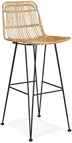Alterego Tabouret De Bar Design Bocadia En Rotin Amazon Fr