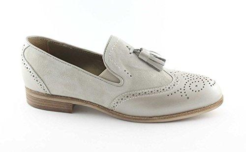 la JARDINES inglés 15054 mujer dedo del del cuero mocasín zapatos pie Grigio de de perla NEGRO nATWHqT