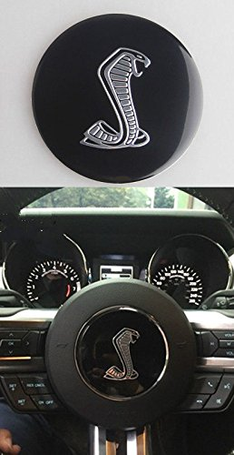 Exotic Store 3D Modified Metal MUSTANG GT350 Steering Wheel Horn Emblem Sticker For Ford Mustang Shelby Cobra Snake Badge 2015-2017 (Ford Mustang Horn)