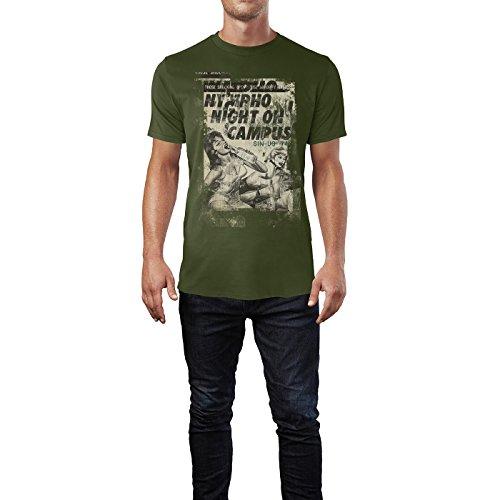 SINUS ART® Nympho Night on Campus Herren T-Shirts Armee grünes Cooles Fun Shirt mit tollen Aufdruck