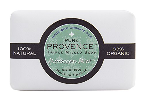 French Mint Soap (Pure Provence Certified Organic Triple Milled French Soap, Organic Shea Butter, 100% Pure Vegetable Based Bar, Invigorating, Paraben Free - Moroccan Mint 5.3 oz (150gr))