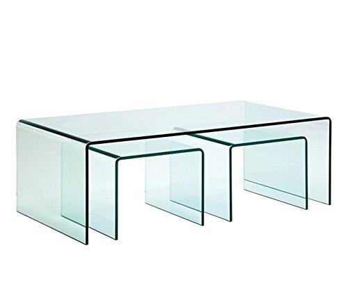 Mesa TRIP-TR, nido - tres mesas, cristal curvado: Amazon.es: Hogar