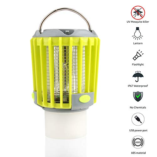 (AKKEE Camping Lantern with Bug Zapper,IP67 Waterproof 5 Lighting Modes Dimmable USB Rechargeable for Home,Camping,Hiking,Fishing,Emergency)