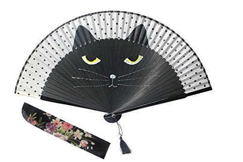 Women Cartoon Cat Folding Silk Fan Jepanese Girls' Handheld Fan (Black)