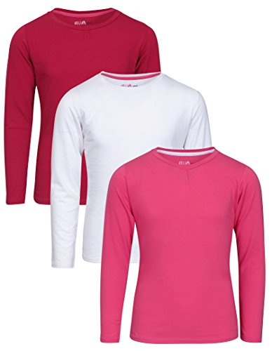 'dELiAs Girls\' 3 Pack Long Sleeve T-Shirts, White, Pink & Raspberry, 14/16' -