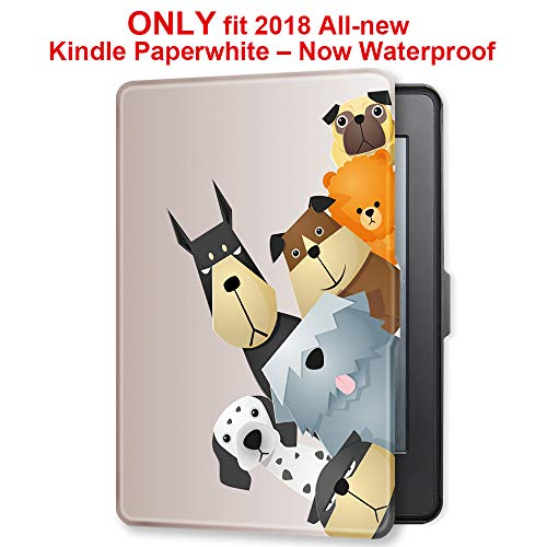 Young me martShell Case for 2018 All-New Kindle Paperwhite with Hand Strap - The Thinnest and Lightest Leather Cover Auto Sleep/Wake for Kindle Paperwhite 10th Generation (Dogs Family)
