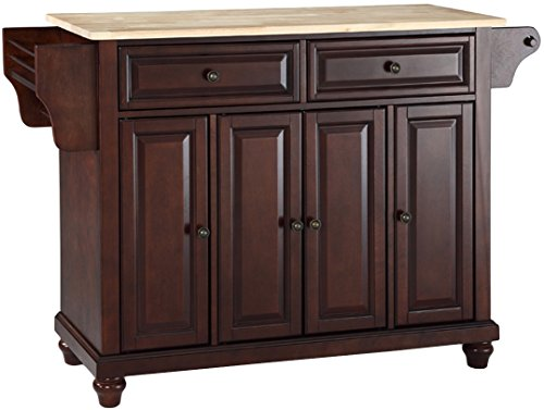 Crosley Furniture Cambridge Kitchen Island with Natural Wood Top - Vintage Mahogany