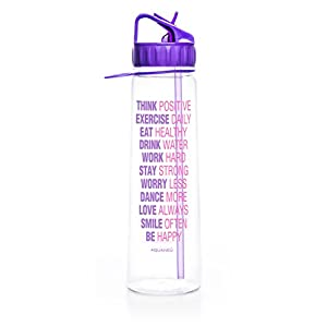 30oz Inspirational Water Bottle With Time Marker + Measurements | Goal Marked Times Fitness Sports Bottles Best For Measuring Your H2O Intake, BPA Free Non-toxic Tritan (Think Positive Purple)