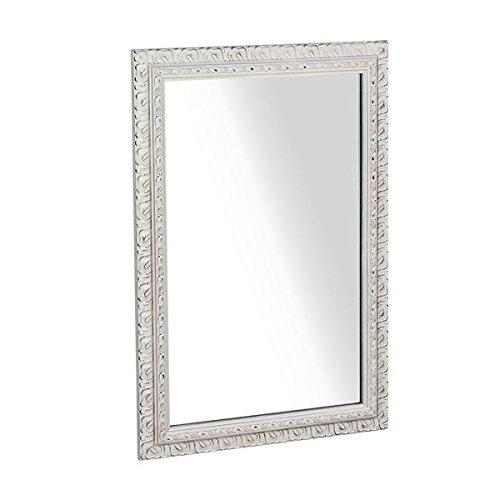 arne ウォールミラー 壁掛け 鏡 姿見 アンティーク ワイド 幅約50~60cm F-003WM4570 ホワイト B00QEY2P04ホワイト