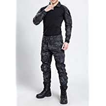 New Series Commando Camouflage Frog Suits Camouflage Coat + Pants Tactical Pants Jungle Camouflage Army Uniform (Black Python Camouflage, M)