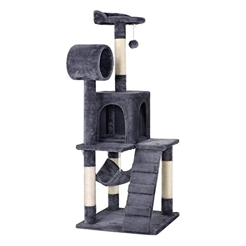 Yaheetech Cat Tree Tower Kitten Condo Scratching Post with Hammock Tunnel 51in