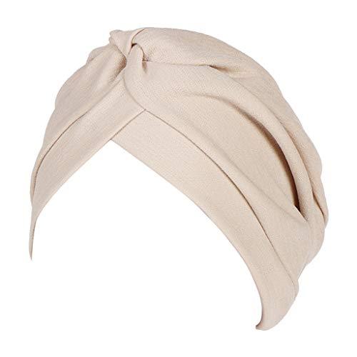 (Dressin Muslim Caps Women's Elegant Stretch Flower Solid Color Turban Chemo Cancer Cap Hat Headwear)
